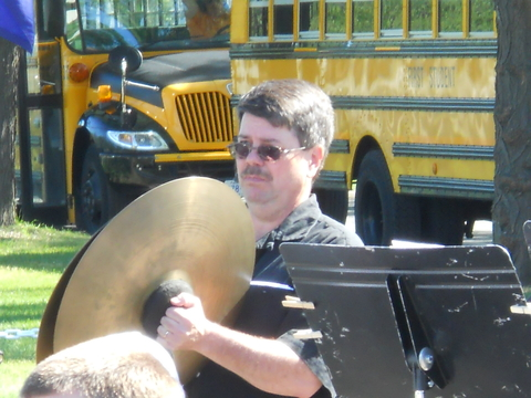 A cymbal player